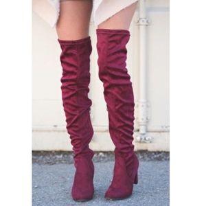 Unisa Maroon Thigh High Boots